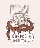 Coffee addiction cartoon print illustration. Octopus tentacles attack girl working on computer stock illustration