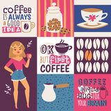 Coffee addiction vector illustration. Cute cartoon female coffee lover with a cup of drink. Coffee is always a good idea royalty free illustration