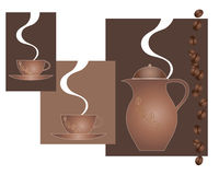 Coffee advert. An illustration of an abstract coffee pot with matching cups steam and coffee beans with blocks of brown coloron a white background Royalty Free Stock Image