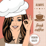Coffee advertising banner with a beautiful lady Royalty Free Stock Photography