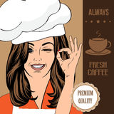 Coffee advertising banner with a beautiful lady Stock Photo
