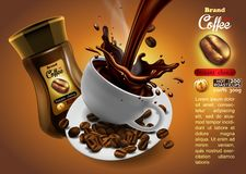 Coffee advertising design with cup of coffee and splash effect, vector illustration