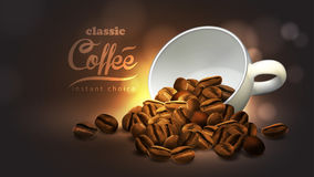 Coffee advertising design,  high detailed realistic illustration. Design of advertising coffee with cup of coffee and coffee beans ,high detailed realistic Stock Photography
