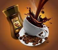 Coffee advertising design with cup of coffee and splash effect stock illustration
