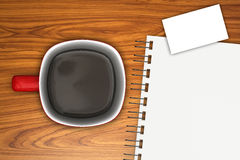 Coffee and Agenda. A close-up of a cup of coffee and agenda vector illustration