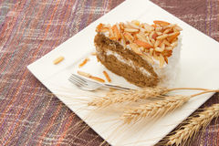 Coffee almond cake Royalty Free Stock Photography