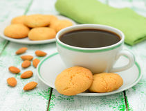 Coffee and almond cookies Stock Photo