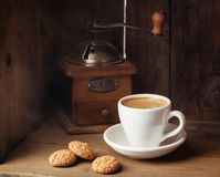 Coffee and amaretti biscuits Stock Image