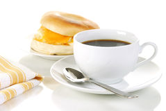 Free Coffee And A Bagle With Egg Royalty Free Stock Photography - 12710367