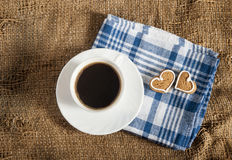 Coffee And A Heart Shaped Cookie Royalty Free Stock Photo