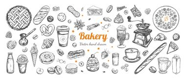 Coffee And Bakery Vector Hand Drawn, Elements. Royalty Free Stock Photography