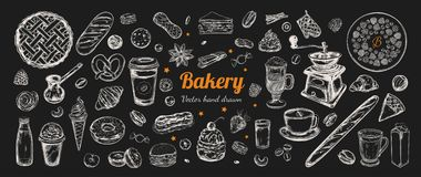 Coffee And Bakery Vector Hand Drawn, Elements. Stock Photography