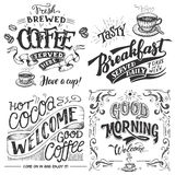 Coffee And Cocoa For Breakfast Hand Lettering Set Royalty Free Stock Photo
