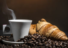Coffee And Croissant Break Stock Images