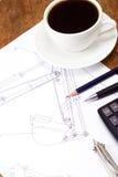 Coffee And Tools At Drafting Royalty Free Stock Photos