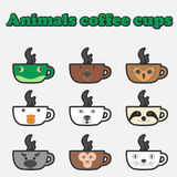 Coffee animals cup set Stock Images