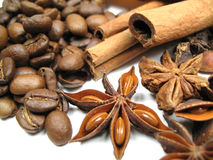 Coffee, anise and cinnamon Stock Photos
