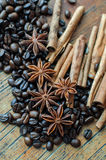 Coffee anise and cinnamon. On wooden table Stock Photo