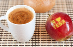 Coffee and apple Stock Photos