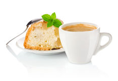 Coffee with apple biscuit and a leaf of mint Stock Images