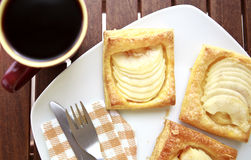 Coffee and apple patisserie closeup. Coffee breakfast with Coffee and apple patisserie closeup Stock Image