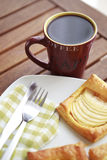 Coffee and apple patisserie closeup. Coffee breakfast with Coffee and apple patisserie closeup Royalty Free Stock Photos