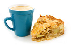 Coffee and apple pie. Coffee in blue cup with slice apple pie isolated on white background stock photography