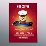 Coffee application poster. Leaflet, brochure, flyer, poster, additional file ine eps 10 Stock Photo