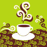 Coffee aroma. A cup of hot coffee on the abstract background Royalty Free Illustration