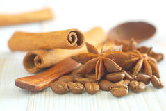 Coffee aroma drink anise cinnamon retro background Royalty Free Stock Image