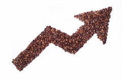 Coffee arrow. Coffee price is growing - arrow by coffee beans Stock Photography