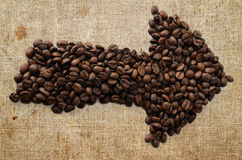 Coffee arrow symbol Stock Image