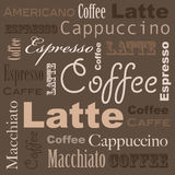 Coffee art. With different words on a background Stock Image