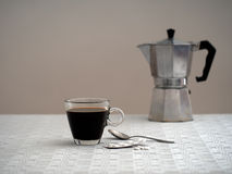 Coffee and aspirin for one, sad and gloomy. Solitude, depression Stock Photography