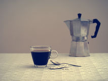 Coffee and aspirin for one, sad and gloomy. Solitude, depression Royalty Free Stock Photography