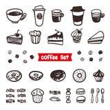 Coffee Attributes set. Outline Hand Drawn elements. Different cups of coffee Espresso, cappuccino, latte, ristretto. Americano, raf, makiato, cheesecake royalty free illustration