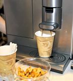 The coffee automatic machine. The automatic device of manufacturing of coffee Stock Images