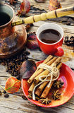 Coffee in the autumn season Royalty Free Stock Photos