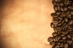 Coffee Background. Coffee beans on a grunge background Stock Photo