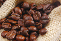 Coffee background. Roasted Coffee beans in a sack royalty free stock photos
