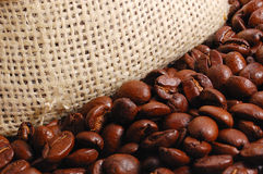 Coffee background. Roasted coffee background and sack stock photos