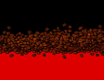 Coffee background. Coffee beans on black and red background stock photo