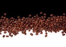 Coffee background. Coffee beans on black and white background royalty free stock photo