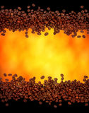 Coffee background. Coffee beans on gold background Royalty Free Stock Images