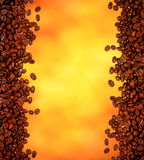 Coffee background. Coffee beans on gold background royalty free stock photos