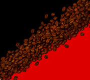 Coffee background. Coffee beans on black and red background Royalty Free Stock Images