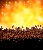 Coffee background. Coffee beans on golden background royalty free stock image