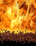 Coffee background. Coffee beans background with flame stock photos