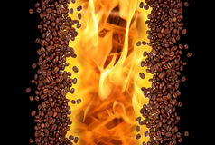 Coffee background. Coffee beans background with flame stock image