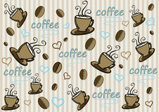 Coffee background. Abstract background with coffee cups beans and hearts stock illustration